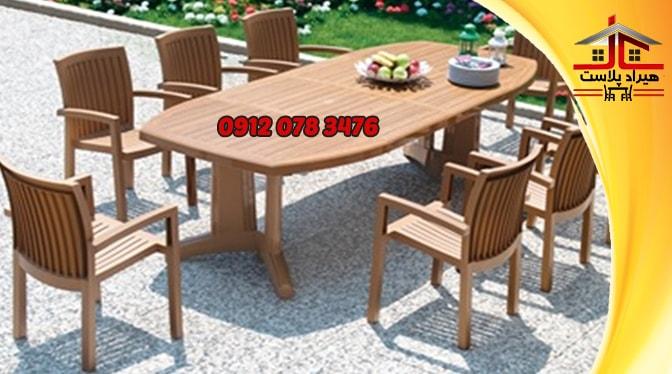 میز صندلی پلاستیکی طرح چوب